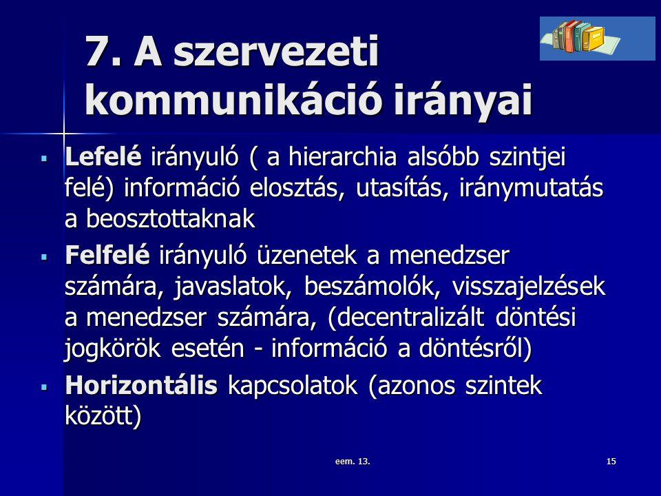 eem. 13.15 7. A szervezeti kommunikáció irányai  Lefelé irányuló ( a hierarchia alsóbb szintjei felé) információ elosztás, utasítás, iránymutatás a b