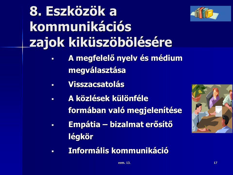 eem. 13.17 8. Eszközök a kommunikációs zajok kiküszöbölésére  A megfelelő nyelv és médium megválasztása  Visszacsatolás  A közlések különféle formá