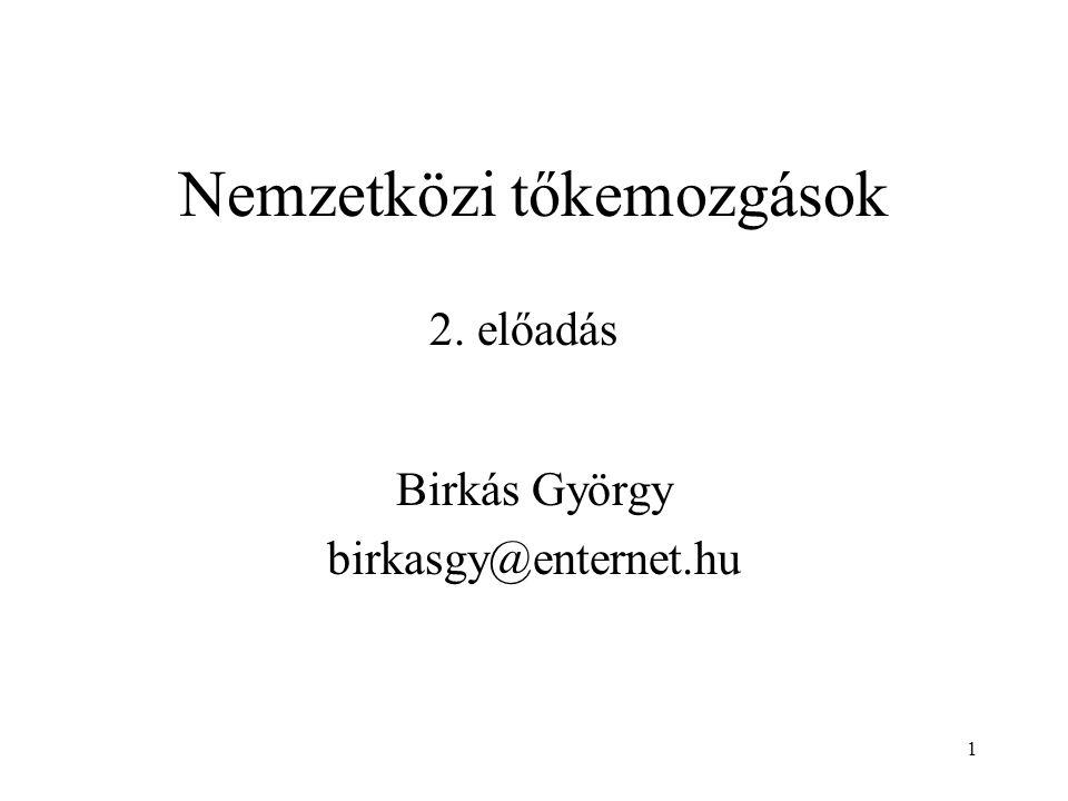 1 Nemzetközi tőkemozgások Birkás György birkasgy@enternet.hu 2. előadás