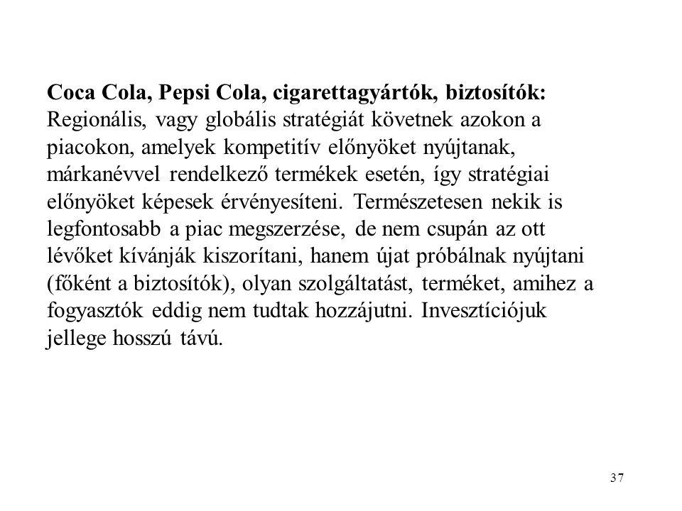 37 Coca Cola, Pepsi Cola, cigarettagyártók, biztosítók: Regionális, vagy globális stratégiát követnek azokon a piacokon, amelyek kompetitív előnyöket nyújtanak, márkanévvel rendelkező termékek esetén, így stratégiai előnyöket képesek érvényesíteni.