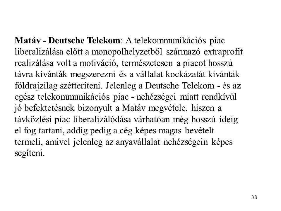 38 Matáv - Deutsche Telekom: A telekommunikációs piac liberalizálása előtt a monopolhelyzetből származó extraprofit realizálása volt a motiváció, természetesen a piacot hosszú távra kívánták megszerezni és a vállalat kockázatát kívánták földrajzilag szétteríteni.