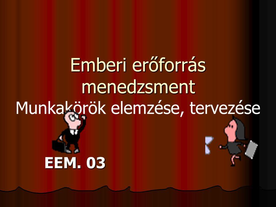 EEM 2 A munkakör  A szervezet elemi egysége  Szűkebb értelmezésben - a munkakör azon feladatok összessége, amelyeket egy embernek kell elvégeznie.