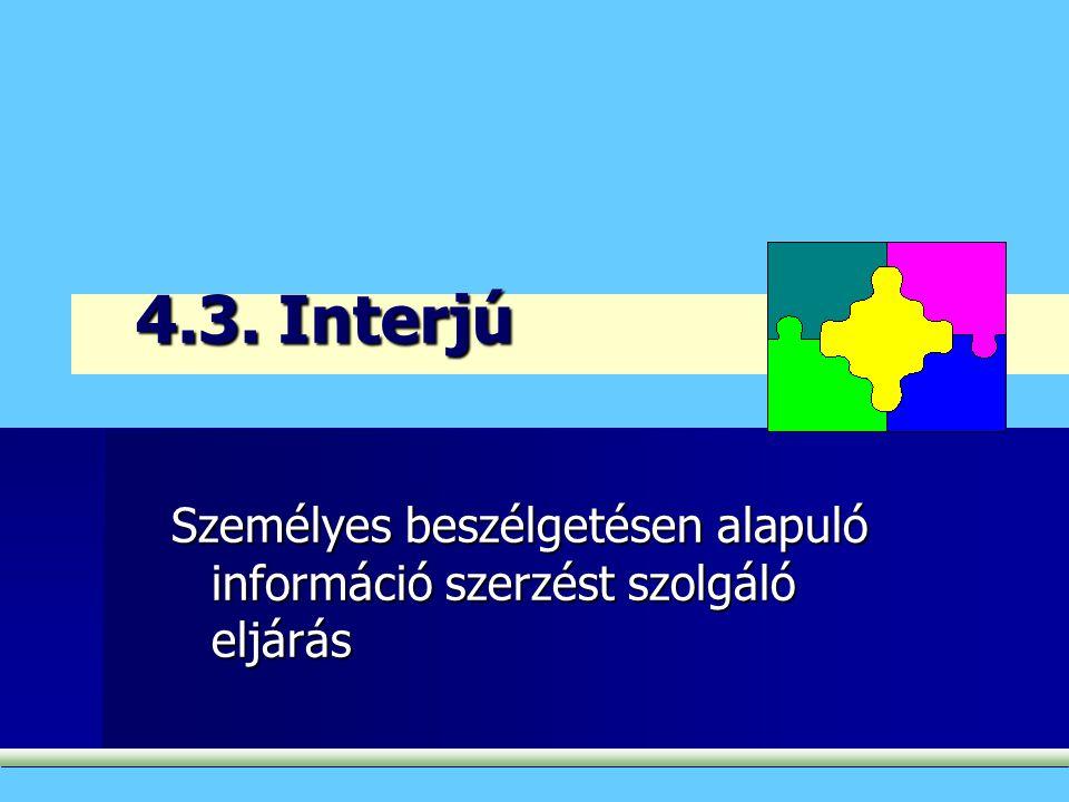 4.3. Interjú Személyes beszélgetésen alapuló információ szerzést szolgáló eljárás