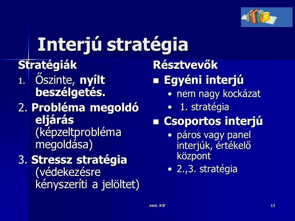 eem. KJF13 Interjú stratégia Stratégiák 1. Őszinte, nyílt beszélgetés. 2. Probléma megoldó eljárás (képzeltprobléma megoldása) 3. Stressz stratégia (v