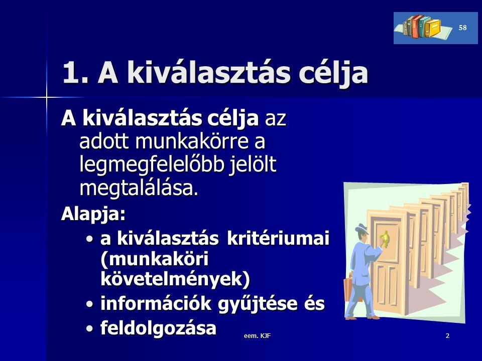 eem. KJF2 1. A kiválasztás célja A kiválasztás célja az adott munkakörre a legmegfelelőbb jelölt megtalálása. Alapja: a kiválasztás kritériumai (munka