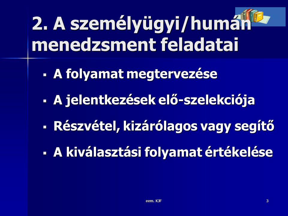 eem. KJF3 2. A személyügyi/humán menedzsment feladatai  A folyamat megtervezése  A jelentkezések elő-szelekciója  Részvétel, kizárólagos vagy segít