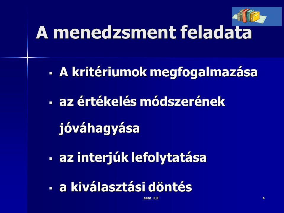 eem. KJF4 A menedzsment feladata  A kritériumok megfogalmazása  az értékelés módszerének jóváhagyása  az interjúk lefolytatása  a kiválasztási dön