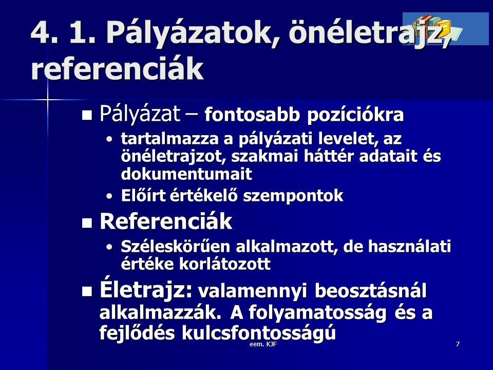 eem. KJF7 4. 1. Pályázatok, önéletrajz, referenciák Pályázat – fontosabb pozíciókra Pályázat – fontosabb pozíciókra tartalmazza a pályázati levelet, a