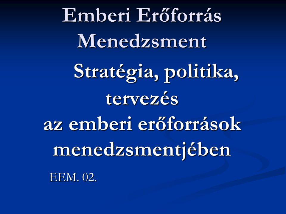 Emberi Erőforrás Menedzsment Stratégia, politika, tervezés az emberi erőforrások menedzsmentjében EEM.