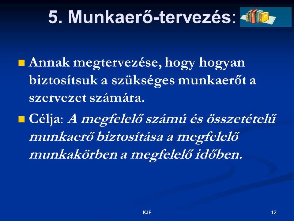 12KJF 5. Munkaerő-tervezés: Annak megtervezése, hogy hogyan biztosítsuk a szükséges munkaerőt a szervezet számára. Célja: A megfelelő számú és összeté
