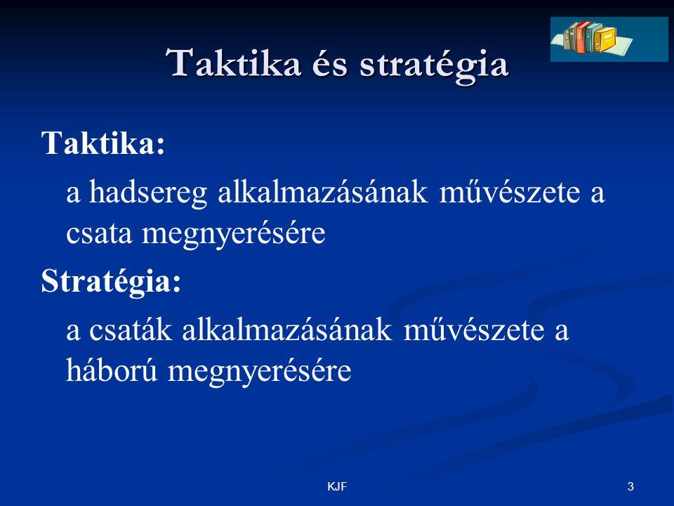 3KJF Taktika és stratégia Taktika: a hadsereg alkalmazásának művészete a csata megnyerésére Stratégia: a csaták alkalmazásának művészete a háború megn