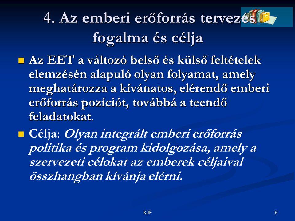 9KJF 4. Az emberi erőforrás tervezés fogalma és célja 4. Az emberi erőforrás tervezés fogalma és célja Az EET a változó belső és külső feltételek elem