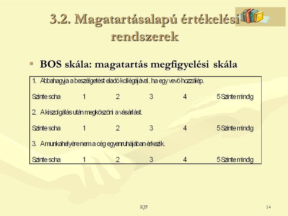 KJF14 3.2. Magatartásalapú értékelési rendszerek  BOS skála: magatartás megfigyelési skála