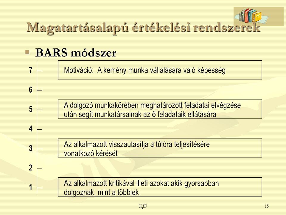 KJF15 Magatartásalapú értékelési rendszerek  BARS módszer