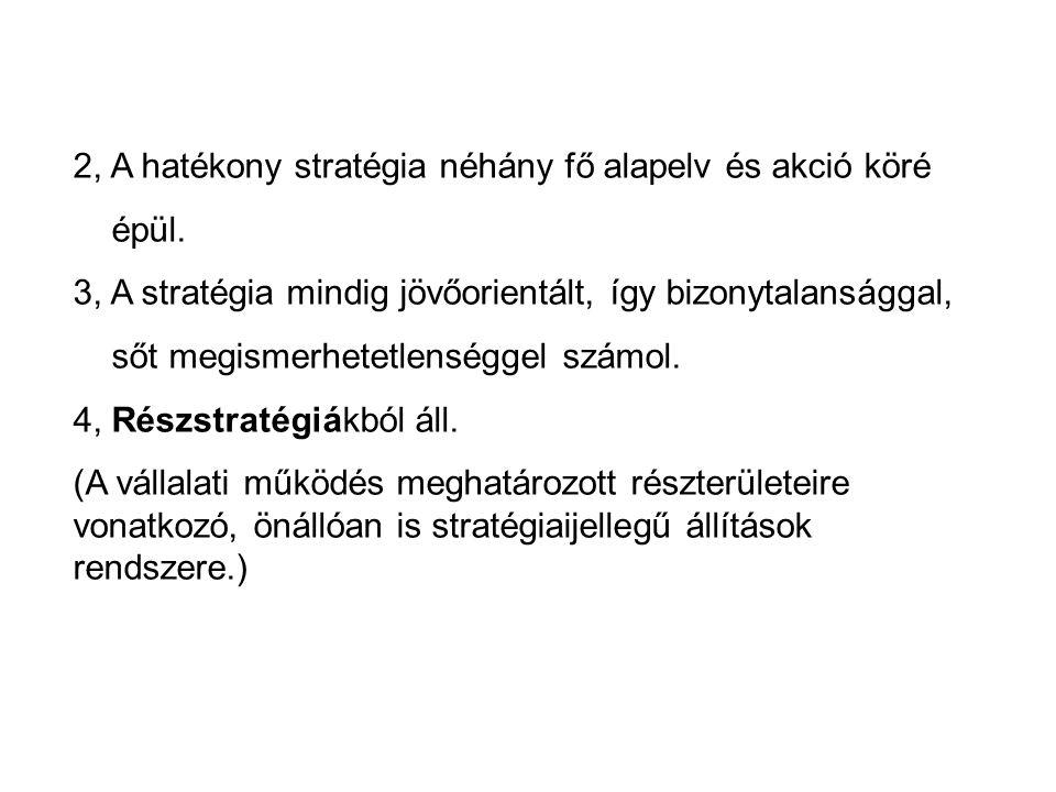 2, A hatékony stratégia néhány fő alapelv és akció köré épül.