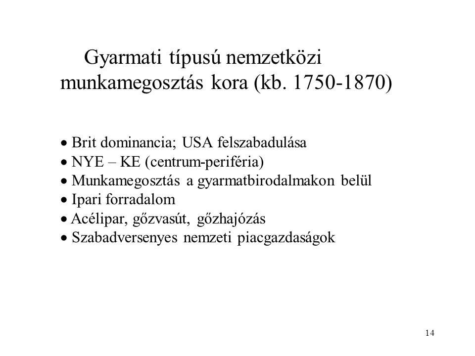 14 Gyarmati típusú nemzetközi munkamegosztás kora (kb. 1750-1870)  Brit dominancia; USA felszabadulása  NYE – KE (centrum-periféria)  Munkamegosztá