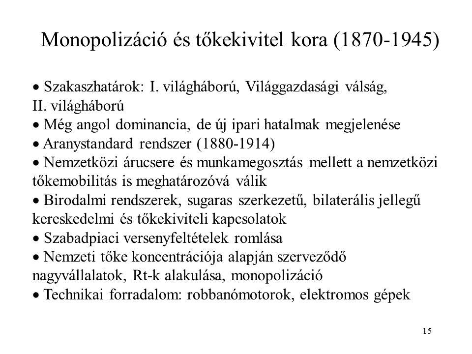 15 Monopolizáció és tőkekivitel kora (1870-1945)  Szakaszhatárok: I. világháború, Világgazdasági válság, II. világháború  Még angol dominancia, de ú