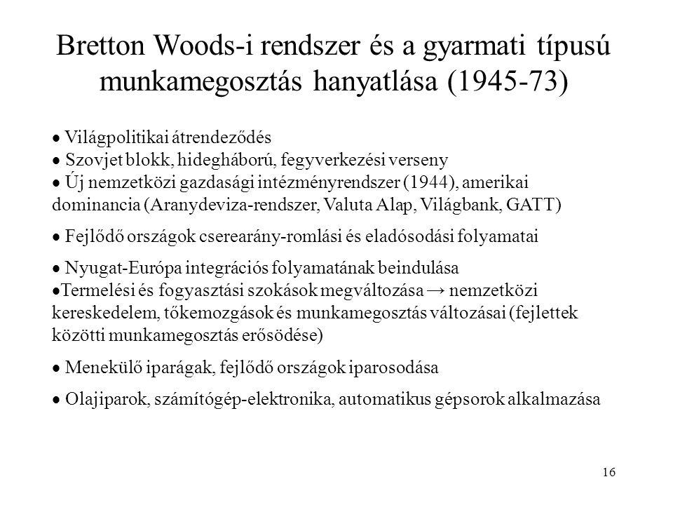 16 Bretton Woods-i rendszer és a gyarmati típusú munkamegosztás hanyatlása (1945-73)  Világpolitikai átrendeződés  Szovjet blokk, hidegháború, fegyv