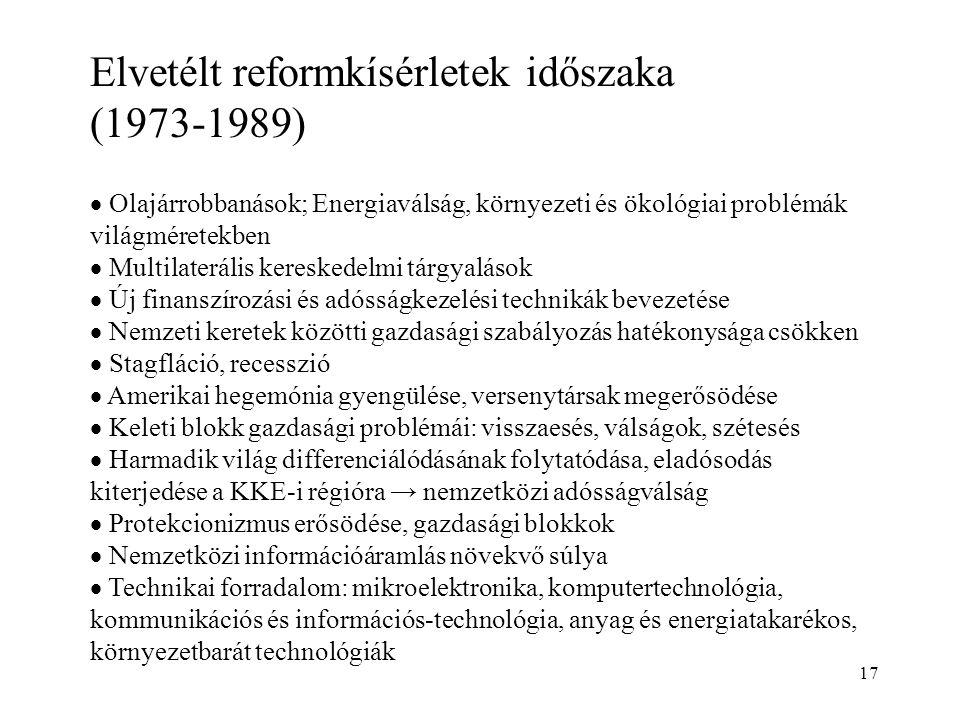 17 Elvetélt reformkísérletek időszaka (1973-1989)  Olajárrobbanások; Energiaválság, környezeti és ökológiai problémák világméretekben  Multilateráli