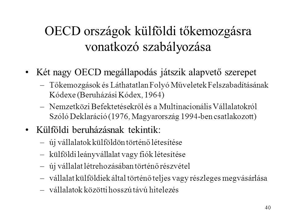 40 OECD országok külföldi tőkemozgásra vonatkozó szabályozása Két nagy OECD megállapodás játszik alapvető szerepet –Tőkemozgások és Láthatatlan Folyó