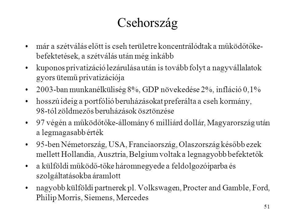 51 Csehország már a szétválás előtt is cseh területre koncentrálódtak a működőtőke- befektetések, a szétválás után még inkább kuponos privatizáció lez