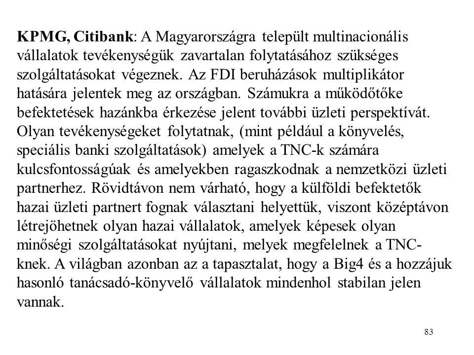 83 KPMG, Citibank: A Magyarországra települt multinacionális vállalatok tevékenységük zavartalan folytatásához szükséges szolgáltatásokat végeznek. Az