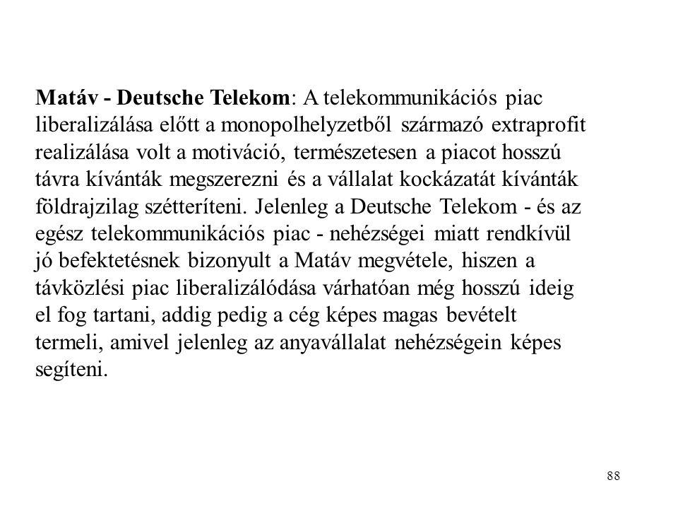 88 Matáv - Deutsche Telekom: A telekommunikációs piac liberalizálása előtt a monopolhelyzetből származó extraprofit realizálása volt a motiváció, term