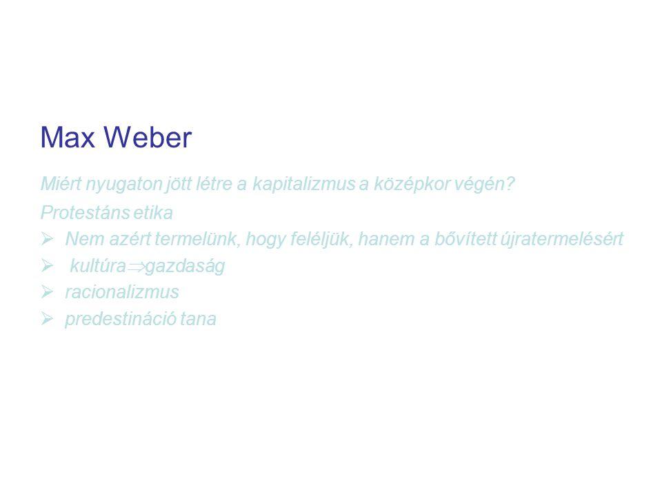 Max Weber Miért nyugaton jött létre a kapitalizmus a középkor végén.