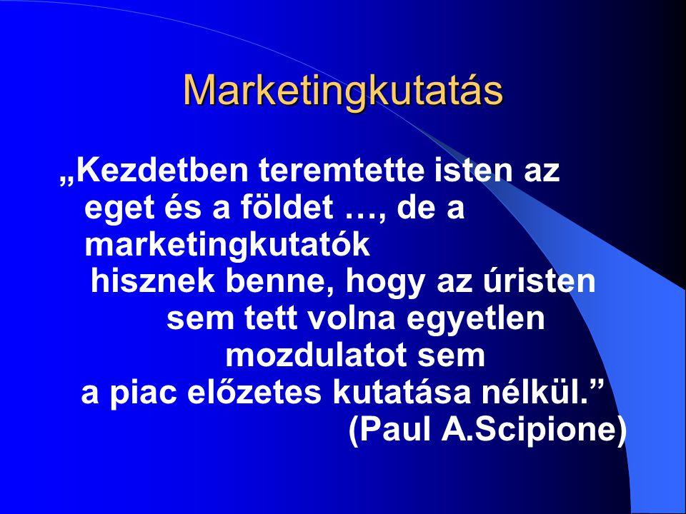 """Marketingkutatás """"Kezdetben teremtette isten az eget és a földet …, de a marketingkutatók hisznek benne, hogy az úristen sem tett volna egyetlen mozdu"""