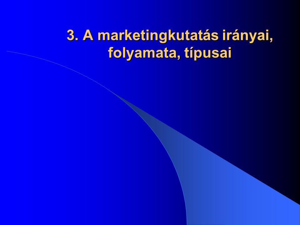 3. A marketingkutatás irányai, folyamata, típusai