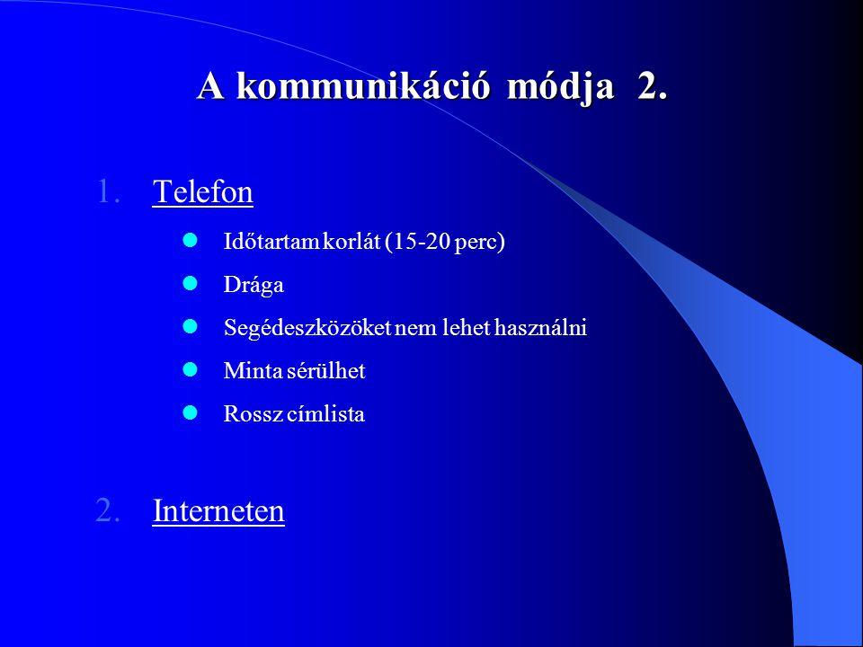 A kommunikáció módja 2. 1. Telefon Időtartam korlát (15-20 perc) Drága Segédeszközöket nem lehet használni Minta sérülhet Rossz címlista 2. Interneten