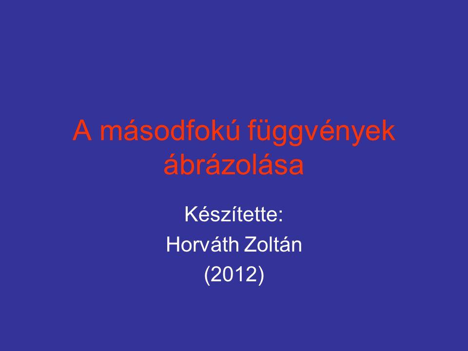 A másodfokú függvények ábrázolása Készítette: Horváth Zoltán (2012)
