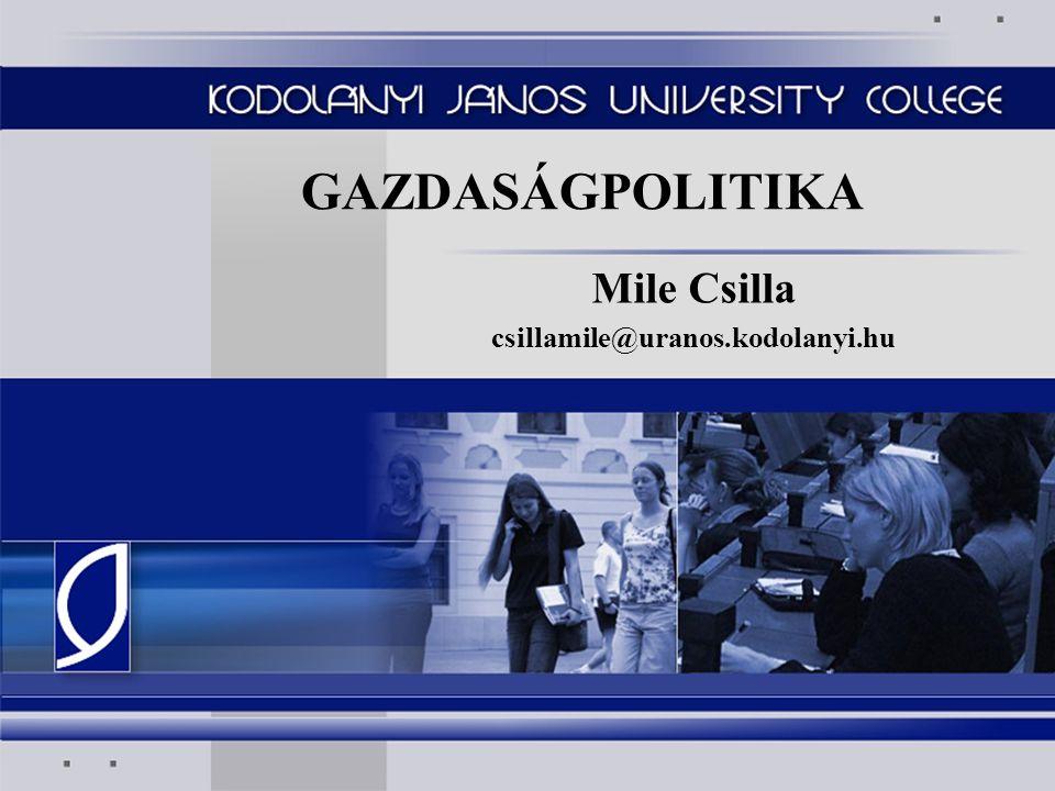 GAZDASÁGPOLITIKA Mile Csilla csillamile@uranos.kodolanyi.hu