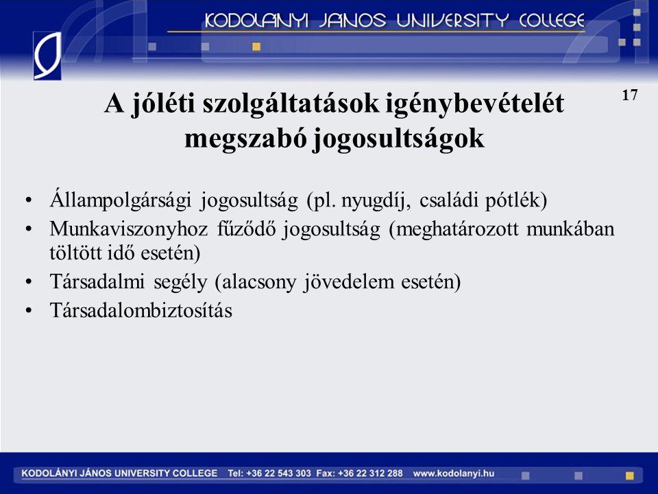 A jóléti szolgáltatások igénybevételét megszabó jogosultságok 17 Állampolgársági jogosultság (pl.