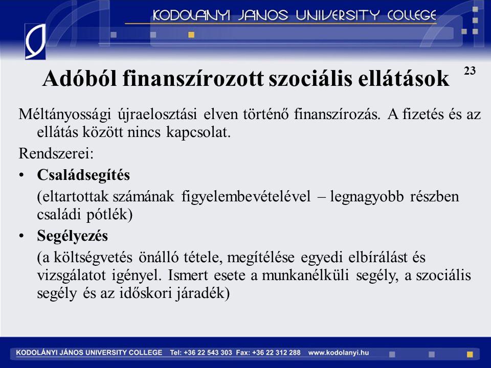 Adóból finanszírozott szociális ellátások 23 Méltányossági újraelosztási elven történő finanszírozás.