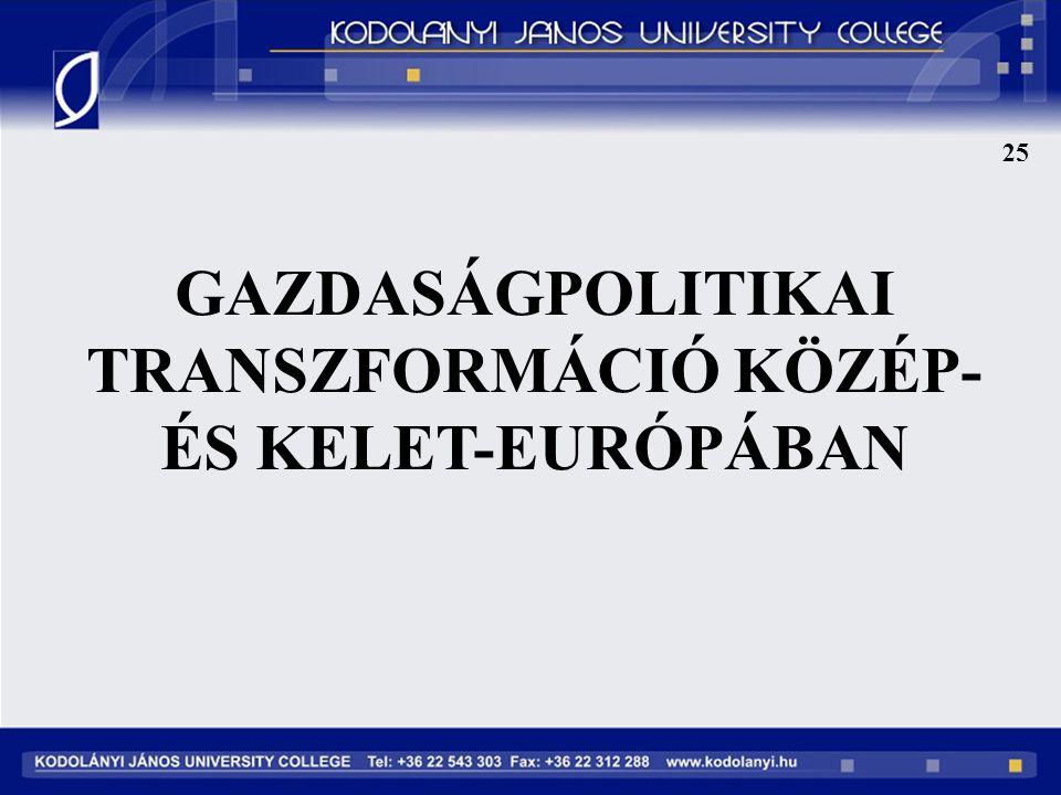 GAZDASÁGPOLITIKAI TRANSZFORMÁCIÓ KÖZÉP- ÉS KELET-EURÓPÁBAN 25