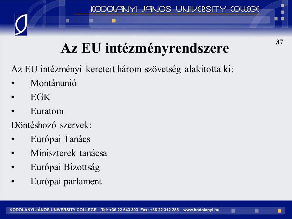 Az EU intézményrendszere Az EU intézményi kereteit három szövetség alakította ki: Montánunió EGK Euratom Döntéshozó szervek: Európai Tanács Miniszterek tanácsa Európai Bizottság Európai parlament 37