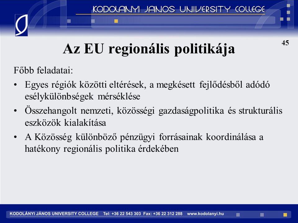 45 Az EU regionális politikája Főbb feladatai: Egyes régiók közötti eltérések, a megkésett fejlődésből adódó esélykülönbségek mérséklése Összehangolt nemzeti, közösségi gazdaságpolitika és strukturális eszközök kialakítása A Közösség különböző pénzügyi forrásainak koordinálása a hatékony regionális politika érdekében