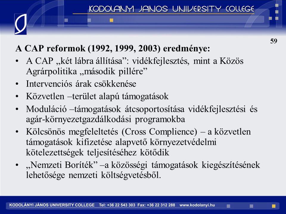 """59 A CAP reformok (1992, 1999, 2003) eredménye: A CAP """"két lábra állítása : vidékfejlesztés, mint a Közös Agrárpolitika """"második pillére Intervenciós árak csökkenése Közvetlen –terület alapú támogatások Moduláció –támogatások átcsoportosítása vidékfejlesztési és agár-környezetgazdálkodási programokba Kölcsönös megfeleltetés (Cross Complience) – a közvetlen támogatások kifizetése alapvető környezetvédelmi kötelezettségek teljesítéséhez kötődik """"Nemzeti Boríték –a közösségi támogatások kiegészítésének lehetősége nemzeti költségvetésből."""