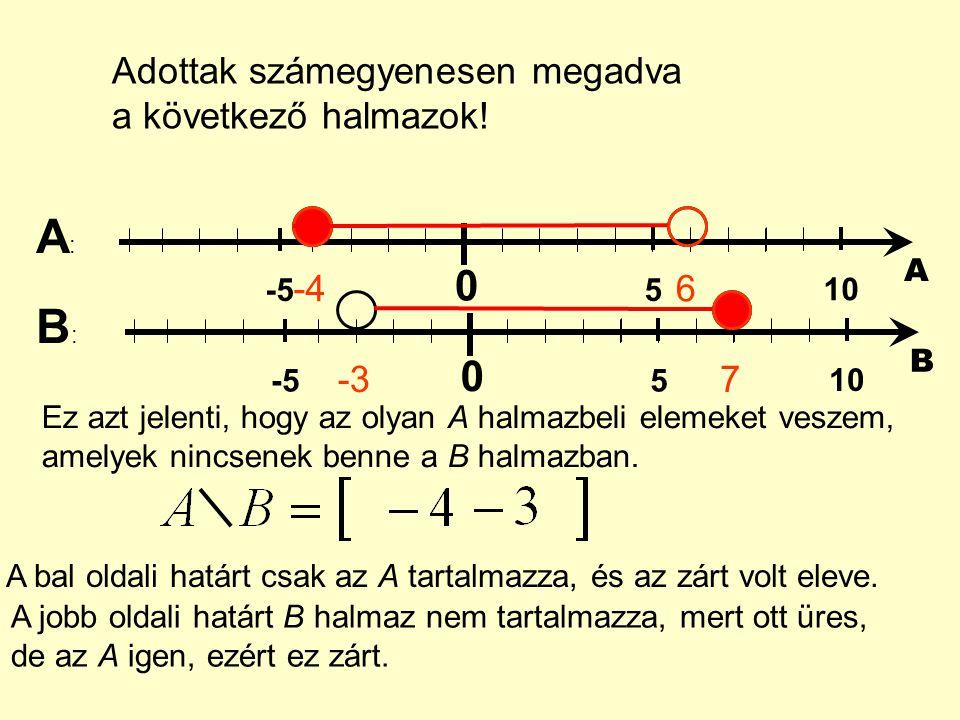 Adottak számegyenesen megadva a következő halmazok! 0 5 10 -5 A -46 0 5 10 -5 B -37 A:A: B:B: Ez azt jelenti, hogy az olyan A halmazbeli elemeket vesz