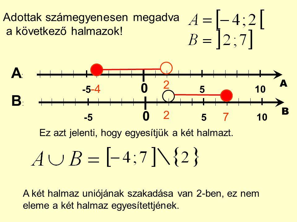 Adottak számegyenesen megadva a következő halmazok! 0 5 10 -5 A -4 2 0 5 10 -5 B 2 7 A:A: B:B: Ez azt jelenti, hogy egyesítjük a két halmazt. A két ha