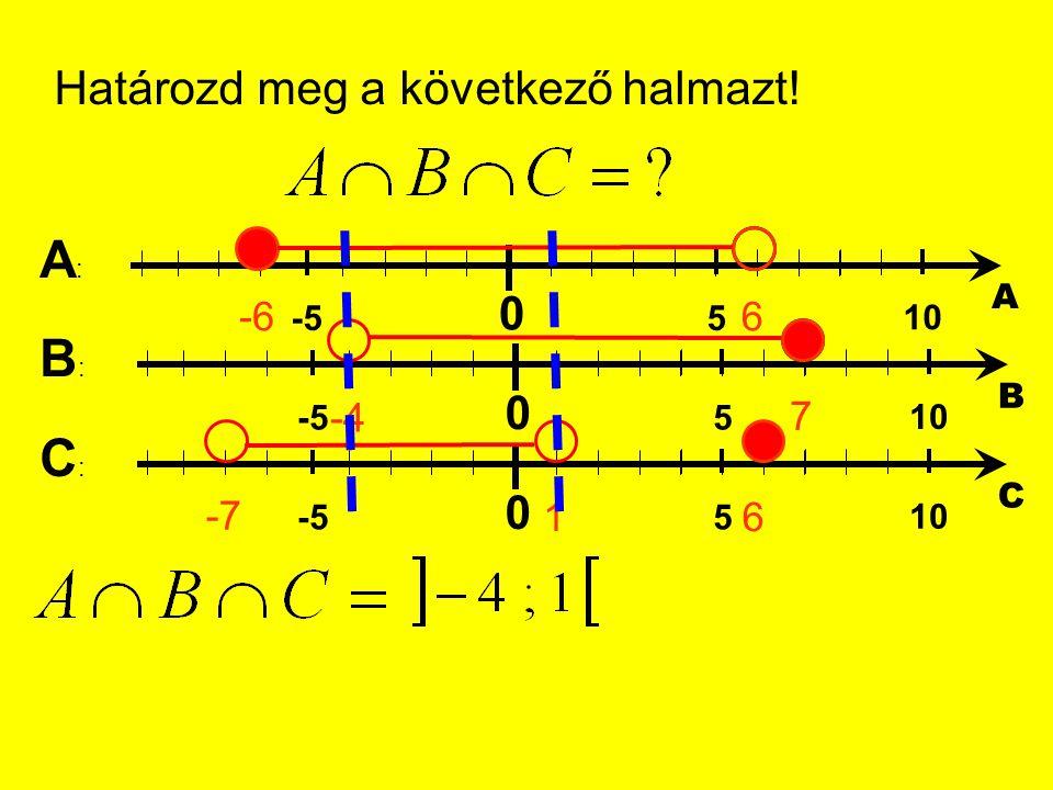 Határozd meg a következő halmazt! 0 5 10 -5 A -66 0 5 10 -5 B -4 7 0 5 10 -5 C -7 1 A:A: B:B: C:C: 6