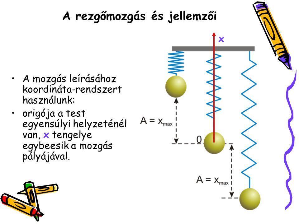 A rezgőmozgás és jellemzői A mozgás leírásához koordináta-rendszert használunk: origója a test egyensúlyi helyzeténél van, x tengelye egybeesik a mozg
