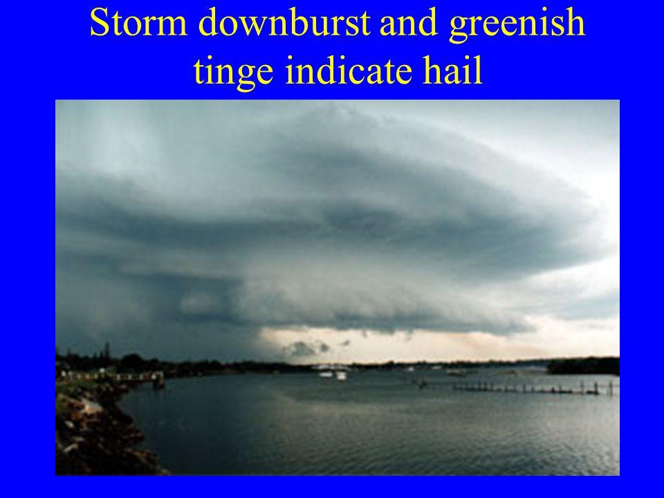 Storm downburst and greenish tinge indicate hail