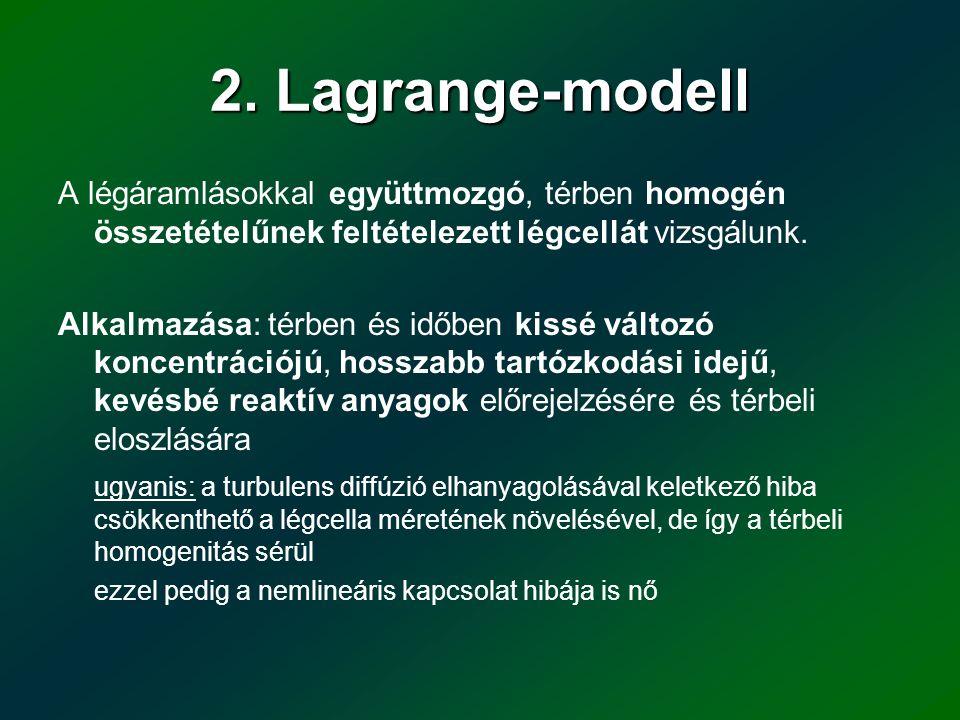 2. Lagrange-modell A légáramlásokkal együttmozgó, térben homogén összetételűnek feltételezett légcellát vizsgálunk. Alkalmazása: térben és időben kiss