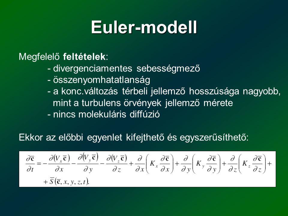 Euler-modell Megfelelő feltételek: - divergenciamentes sebességmező - összenyomhatatlanság - a konc.változás térbeli jellemző hosszúsága nagyobb, mint