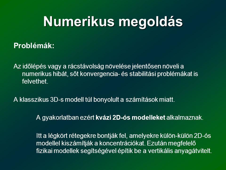Numerikus megoldás Problémák: Az időlépés vagy a rácstávolság növelése jelentősen növeli a numerikus hibát, sőt konvergencia- és stabilitási problémák