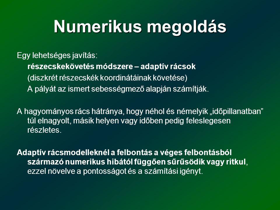 Numerikusmegoldás Numerikus megoldás Egy lehetséges javítás: részecskekövetés módszere – adaptív rácsok (diszkrét részecskék koordinátáinak követése)