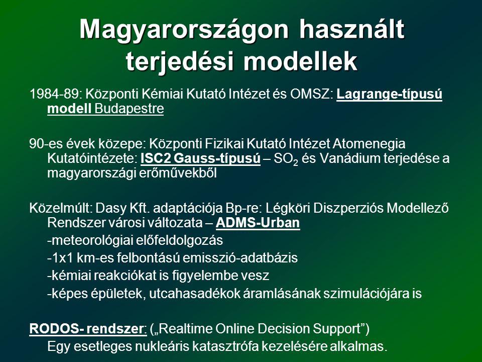 Magyarországon használt terjedési modellek 1984-89: Központi Kémiai Kutató Intézet és OMSZ: Lagrange-típusú modell Budapestre 90-es évek közepe: Közpo