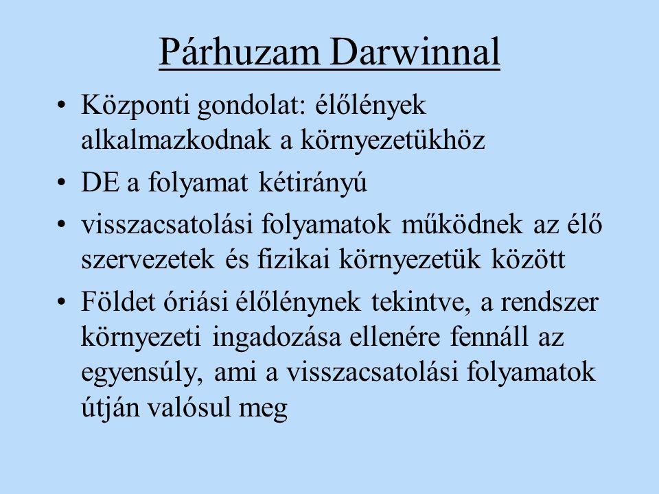 Párhuzam Darwinnal Központi gondolat: élőlények alkalmazkodnak a környezetükhöz DE a folyamat kétirányú visszacsatolási folyamatok működnek az élő sze